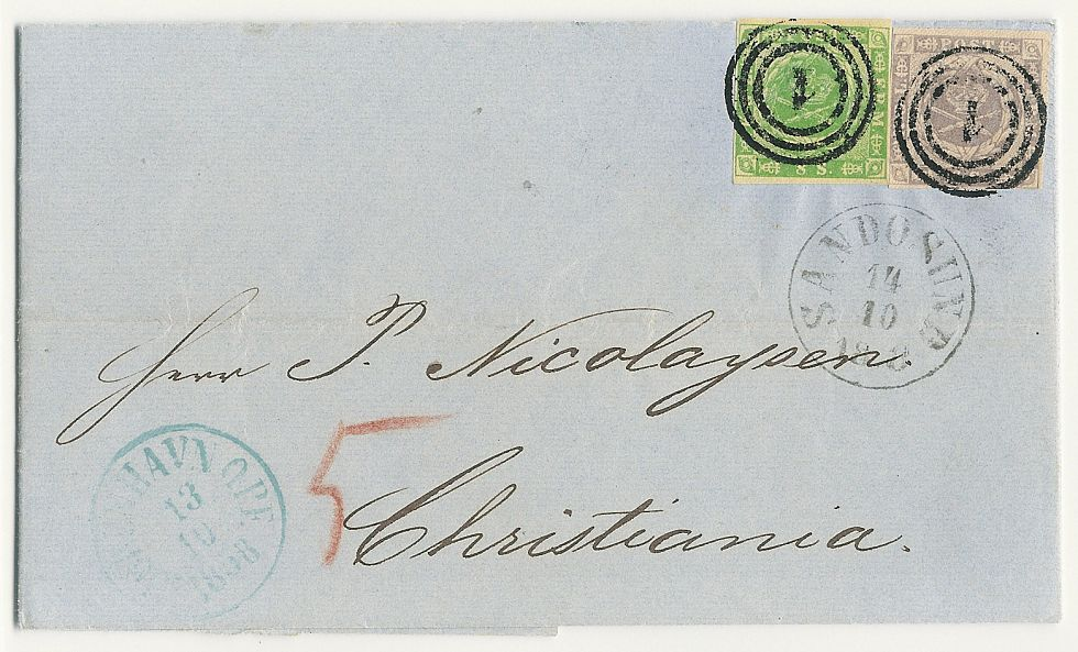 The most beautiful 24 sk. letter recorded to Norway. Sent with direct ship!